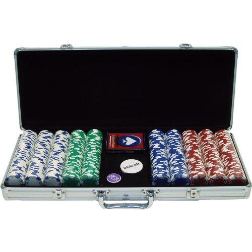 Trademark 500 11.5 Gram Holdem Poker Chip Set with Aluminum Case, Silver -