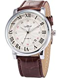 AMPM24 White Dial Men's Automatic Mechanical Date Brown Leather Wrist Watch PMW099