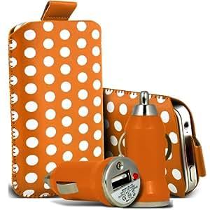 Nokia Lumia 900 Protección Premium Polka PU ficha de extracción Slip In Pouch Pocket Cordón piel cubierta de la cubierta del caso Rápido y Bullet Rápido Cargador USB para coche con carga de luz LED anaranjada y blanca por Spyrox