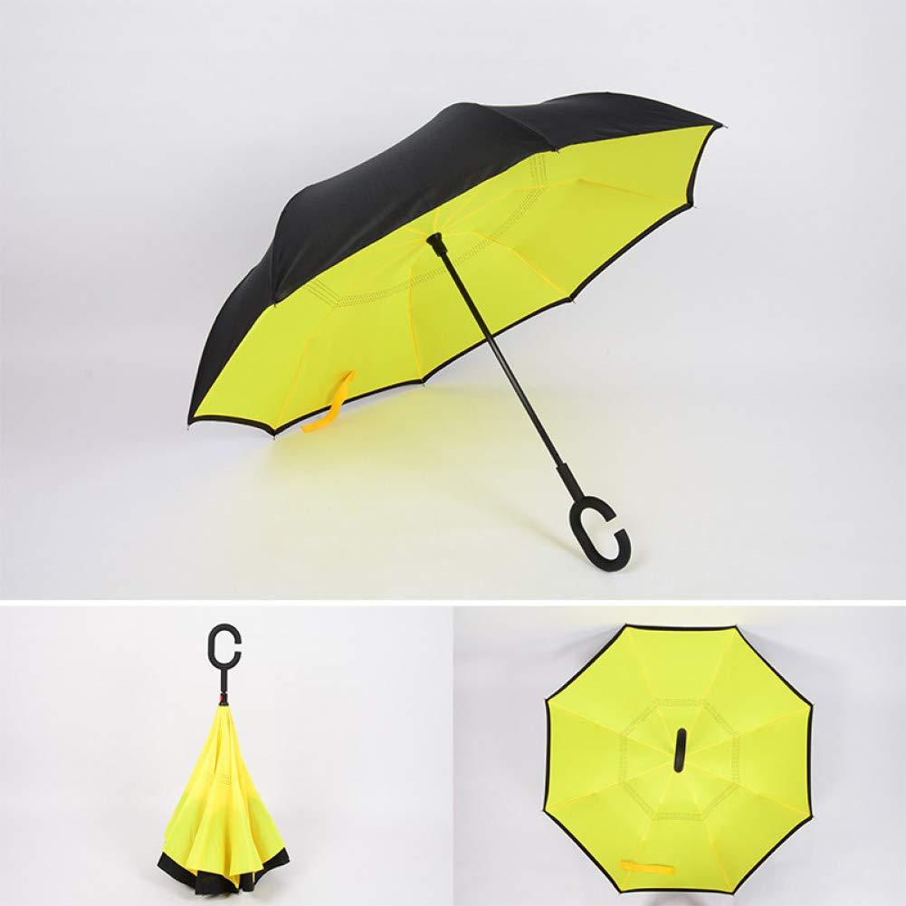 D  YZMBYUSAN Parapluie Coupe-Vent inversé Double Couche Se Pliant parapluies inversés Auto-Support Pluie Soleil Prougeection C-Crochet pour Voiture