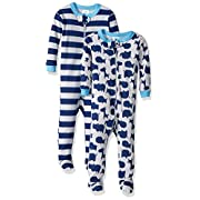 Gerber Baby Boys 2 Pack Footed Sleeper, Zoo Animals Blue/Stripes, 6 Months