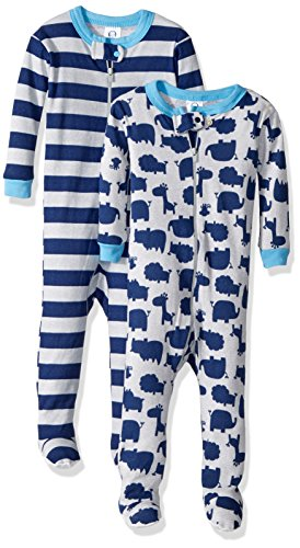 Green Footed Sleeper Pajamas (Gerber Baby Boys 2 Pack Footed Sleeper, Zoo Animals Green/Stripes, 12 Months)
