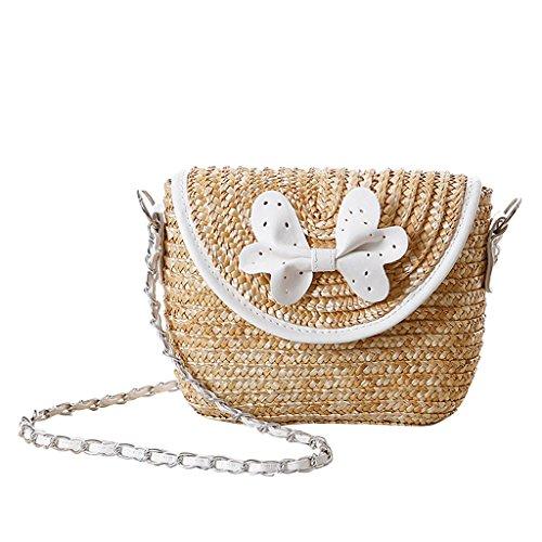 Femme Sac à Bandoulière Paille de Blé Tissé Crochet Arc Cartable N½ud Papillon