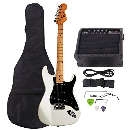 ISIN Full Size Electric Guitar for Beginner with Amp and Accessories Pack Guitar Bag (White)