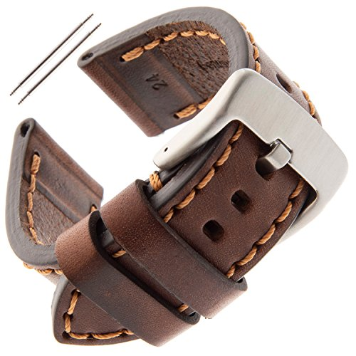Gilden 22-26mm Gents Thick and Heavy Sport Calfskin Leather Watch Strap TS62-1524 (24 Millimeter end Width, Brown) ()