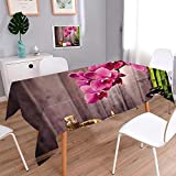 PINAFORE HOME Printed Fabric Tablecloth Spa Still Life with Free for Text Kitchen Decoration Washable/Rectangle, 60x 84 Inch