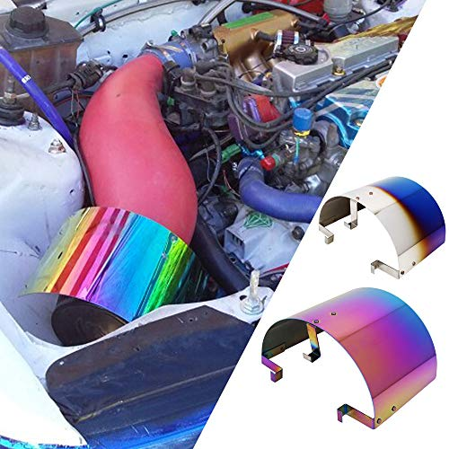 Kyostar Universal Stainless Steel Cone Air Filter Heat Shield Cover Neo chrome Rainbow Air Intake Kit for 2.5-3.5