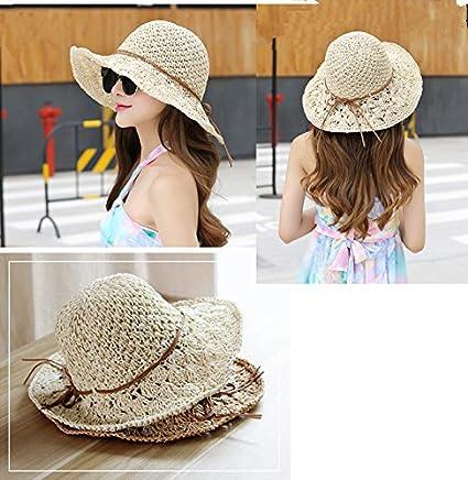 14b3935f513 Cupcinu Women Ladies Girls Floppy Hollow Straw Hat Summer Sun Beach Sun  Visor Caps Wide Brim Handmade Crochet Straw Hats Outdoor Travel Cap   Amazon.co.uk  ...