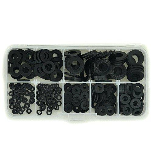 Electronics-Salon Black Nylon Flat Washer Assortment Kit, for M2 M2.5 M3 M4 M5 M6 M8 Screw/Bolt.