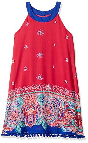 My Michelle Big Girls' Circle Neck Dress Pom Trim and Border Print Hem, Fuchsia, 14 Circle Print Dress