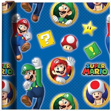 Amazon.com: Papel de regalo con temática de Mario, 20 pies ...