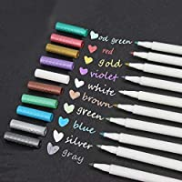 Metallic Marker Pens,Set of 10 Colors,Metallic Color Painting Pen for Birthday Greeting Gift Valentine's Day Cards Thank You Card DIY Scrapbook Photo Album