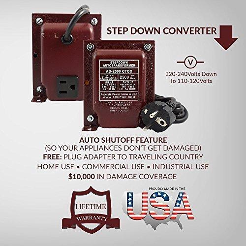 ACUPWR AD-2500 2500-Watt 220-240 Volts to 110-120 volts S...