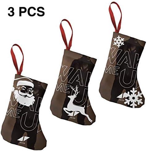 クリスマスの日の靴下 (ソックス3個)クリスマスデコレーションソックス 音楽DJ Avicii クリスマス、ハロウィン 家庭用、ショッピングモール用、お祝いの雰囲気を加える 人気を高める、販売、プロモーション、年次式