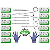 19Pk Training Sutures Threads with Needle Plus Practice Accessories for Students Suture Kit, Suture Pad, Practice Suturing with Anatomical Models, Veterinary Use, Biology Class