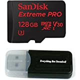 128GB Sandisk Micro SDXC Extreme Pro 4K works with Samsung Galaxy S8, S8 Plus, S8 Note, S7, S7 Edge MicroSD TF Flash Memory Card 128G Class 10 with Everything But Stromboli Card Reader