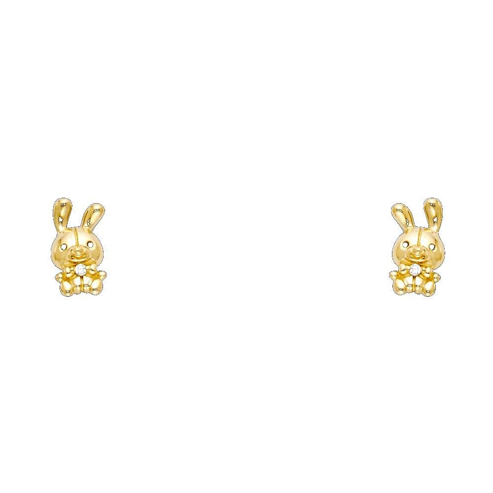 Wellingsale 14K Yellow Gold Polished Rabbit Stud Earrings With Screw Back