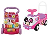 Kiddieland Disney Minnie Mouse Ride-On Toy and VTech Sit-to-Stand Learning Walker, Pink