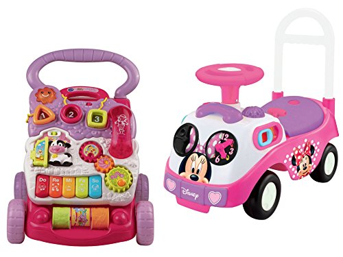 Barnyard Baby Diaper Cake (Kiddieland Disney Minnie Mouse Ride-On Toy and VTech Sit-to-Stand Learning Walker,)