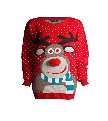 Forever Kids Beautiful Rudolph 3D Nose Pom Pom Christmas Jumper -