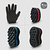 Big Holes Hair Brush Barber Curl Magic Sponge and Glove(Right) Kit Tutorial For