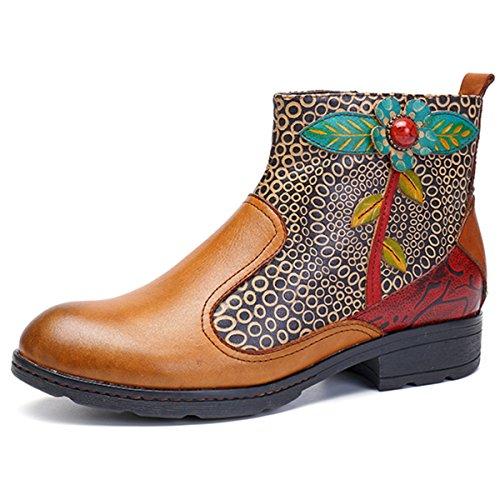 socofy Leather Ankle Bootie, Women's Vintage Handmade Buckle Pattern 10 B(M) US