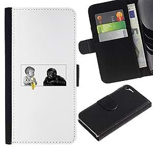 KLONGSHOP // Tirón de la caja Cartera de cuero con ranuras para tarjetas - Funny Baby Plátano Y Mono del gorila - Apple Iphone 5 / 5S //