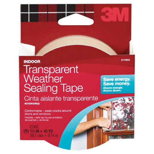 (3M Interior Transparent Weather Sealing Tape, 1.5-Inch by 10-Yard)