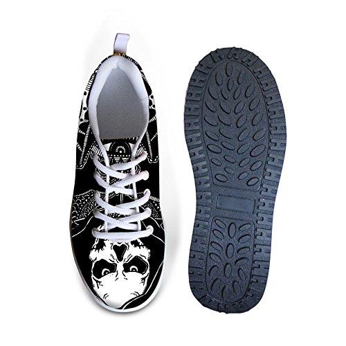 Knuffels Idee Mode Punk Schedel Print Platform Schoenen Voor Vrouwen Skull14