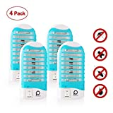 Bug Zapper of Night, Gnat Trap 110V, Electronic Bug Zapper Indoor Bug Zapper Electronic Insect Killer Eliminates Most Flying Pests, Mosquito & Insect Killer (4 Packs)