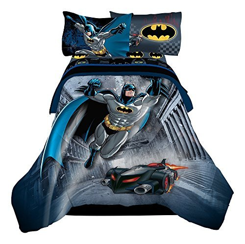 (Reversible Batman, 4pc Twin Comforter & Sheet Set, featuring the Batmobile)
