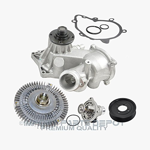 Water Pump + Fan Clutch + Thermostat + Pulley Kit for BMW 540i 740i 740iL Premium 11510393336/11527502804/11531436386/11511742045 (4pcs) New