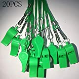 Kaqkiasiog 20 Pcs Green Plastic Loud Whistles with Lanyard for Referee Coaches Basketball Football Sports Training Game Event Lifeguard Survival Emergency Fun School Kids Tool Set Suppliers