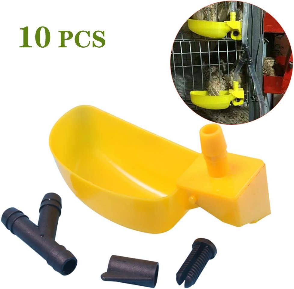 PET HOUND 10 Piezas De Suministro Agua Pezón Suministros Avícolas Agricultura Bebederos Tazas Caja Mascotas Pájaros Periquitos Cuencos Vasos Plástico para Aves Corral, Comedero Automático Aves