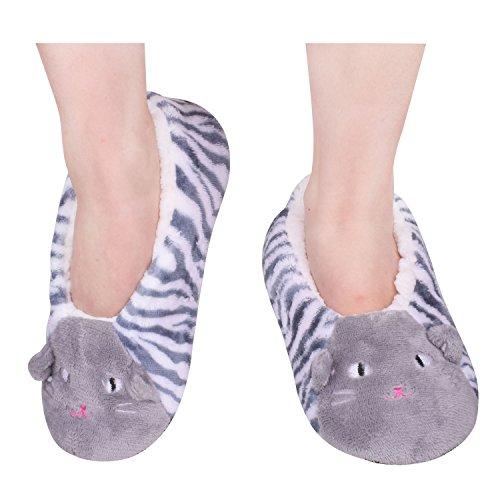 Warm Slipper Shoes House Slippers Non Skid Winter Socks For Women Grey Size 9-11