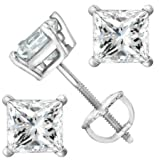 2 Carat Solitaire Diamond Stud Earrings Princess Cut 4 Prong Screw Back (I-J Color, I2 Clarity)