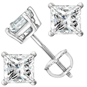 2 Carat Platinum Solitaire Diamond Stud Earrings Princess Cut 4 Prong Screw Back (I-J Color, I2 Clarity)
