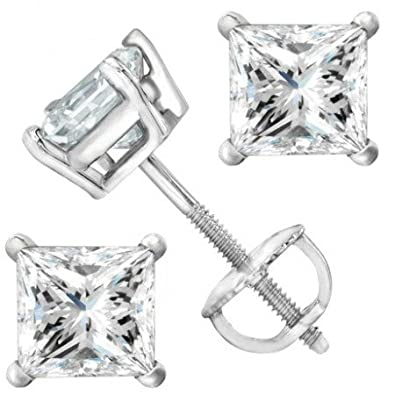 2 Carat Solitaire Diamond Stud Earrings Princess Cut 4 Prong Screw Back I-J Color, I2 Clarity
