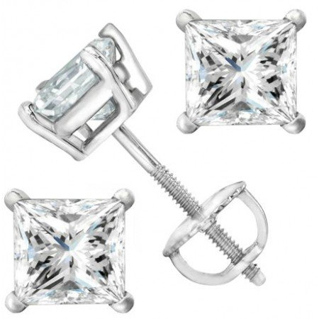 2 Carat 18K White Gold Solitaire Diamond Stud Earrings Princess Cut 4 Prong Screw Back (I-J Color, I2 Clarity) 2ct Tw Stud Earrings