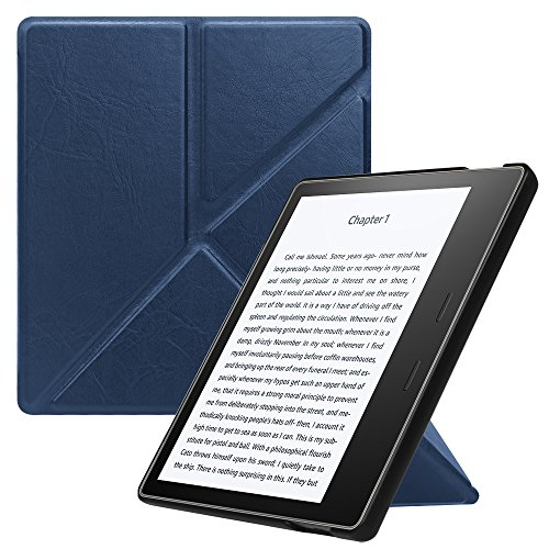 Fintie Origami Case for Kindle Oasis (9th Gen, 2017 Release ONLY) - Slim Fit Stand Protective Cover Support [Hands Free] Reading with Auto Wake / Sleep for Amazon All-New 7 Kindle Oasis, Navy