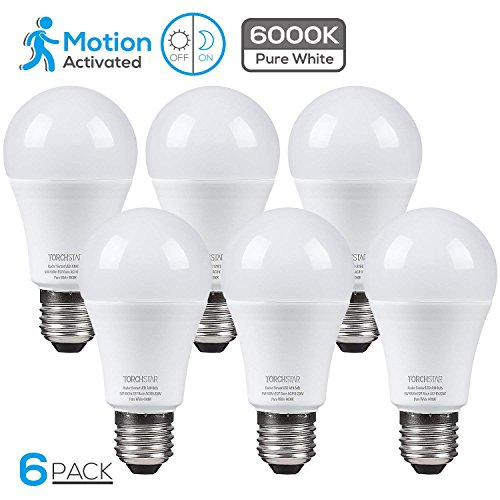 TORCHSTAR Motion Sensor A19 LED Light Bulb with Photocell, Radar Motion Detector, Dusk to Dawn Bulb, 9W (100W Equivalent), 6000K Pure White, E27 Base, for Stairways, Closets, Entry Halls, Pack of 6
