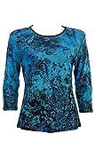 Jess & Jane Cotton Tee Shirt - Blue Ocean in Black (3X)