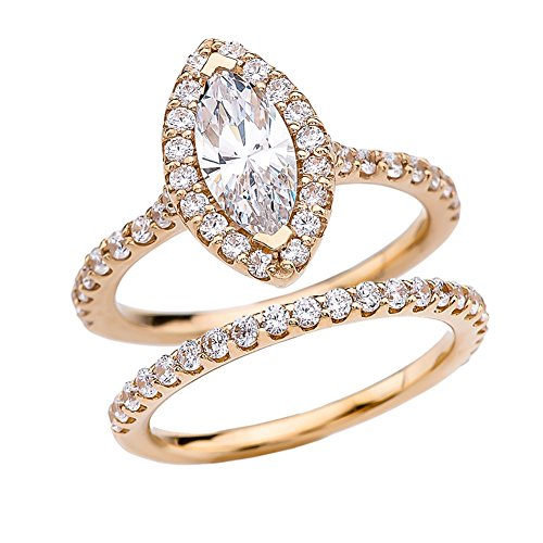 Exquisite 14k Yellow Gold Marquise CZ Solitaire Engagement/Wedding Ring Set (Size 8.25)