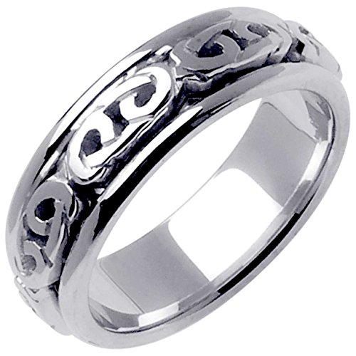 14K White Gold Celtic Love Knot Men's Comfort Fit Wedding Band (7mm) Size-9.25 by Wedding Rings Depot