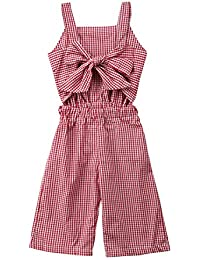 f375a7a2c06 Kids Toddler Baby Girl Red Plaid Big Bow Sleeveless Romper Jumpsuit  Trousers Clothes Outfits