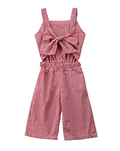 Kids Toddler Baby Girl Red Plaid Big Bow Sleeveless Romper Jumpsuit Trousers Clothes Outfits (Red, 3-4 Years) ()