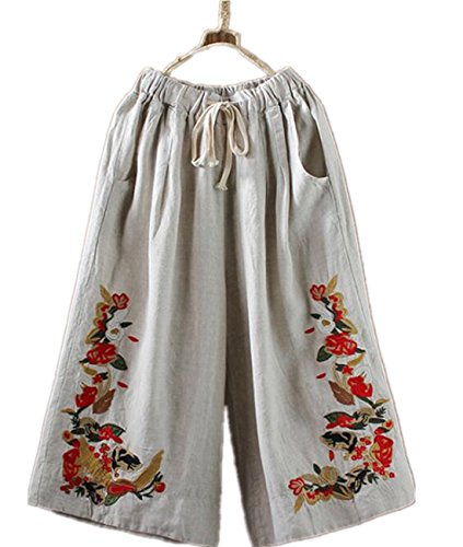 Womens Linen (YESNO P45 Women Cropped Pants Trousers 100% Linen/Cotton Wide Leg Embroidery Casual Loose Low Crotch … (M, P45 Hemp))