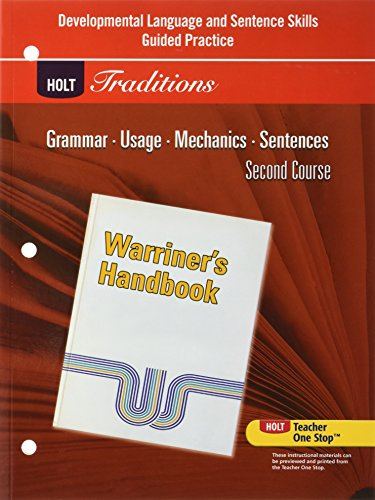 Holt Traditions Warriner's Handbook: Developmental Language and Sentence Skills Guided Practice Second Course Grade 8 ()