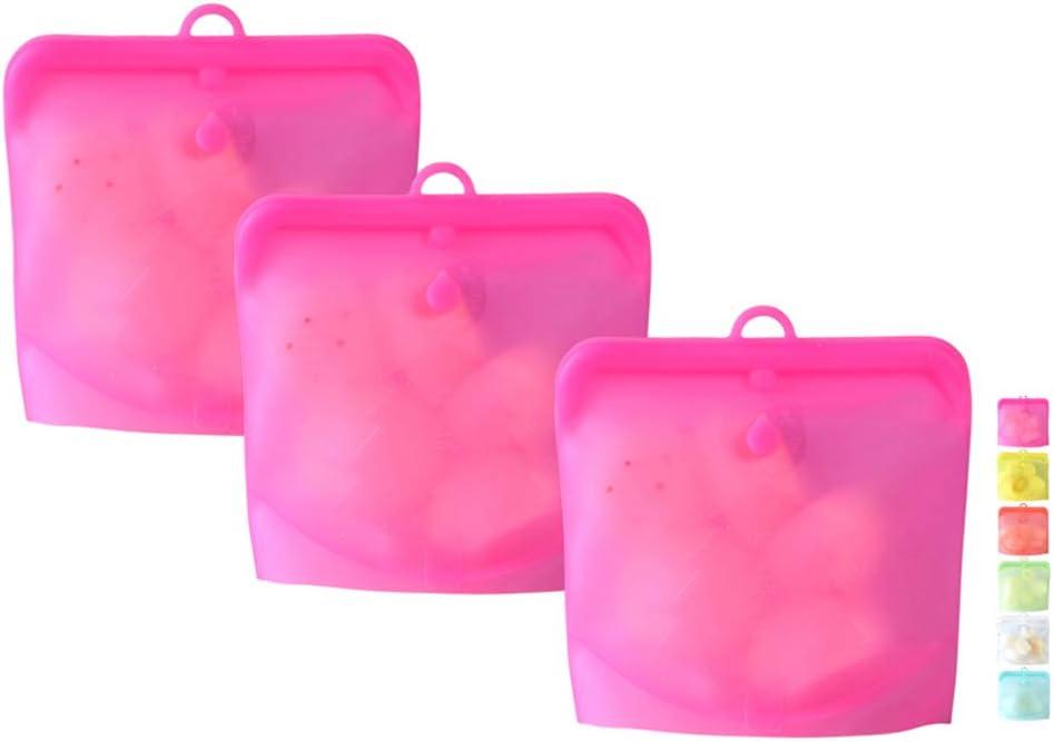 Reusable Food Storage Bags BPA Free Silicone | Zip-Top | Freezer Safe | Airtight | Set of 3 | Quart Size (Pink)