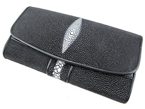 PELGIO Genuine Row Diamond Stingray Skin Leather Women's Trifold Clutch Wallet Black
